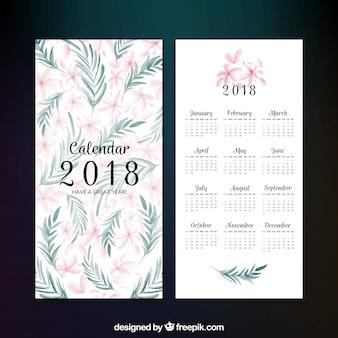 Decorativo 2018 calendario con fiori in stile acquerello