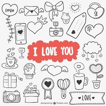 Innamorato scarabocchio foto e vettori gratis - Decorazioni di san valentino ...