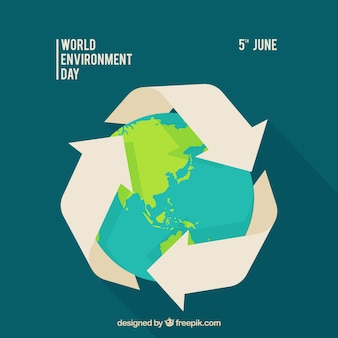 Del mondo di fondo ambiente giorno con il simbolo del riciclaggio