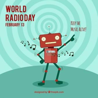 Del mondo di fondo giornata radio con robot che balla