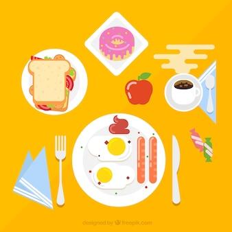 Deliziosa prima colazione in design piatto