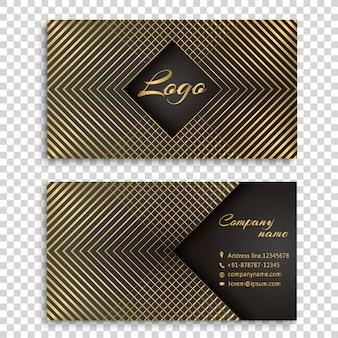 Design biglietto da visita a righe d'oro