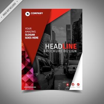 Design brochure affari in bianco e rosso