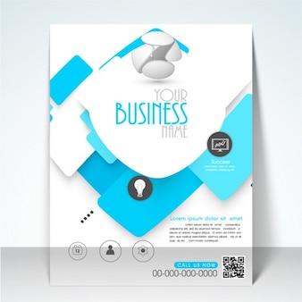 Design brochure commerciale con dettagli in blu