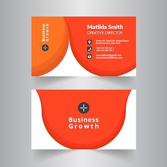 Design Circle Business Card Con Colore Arancione