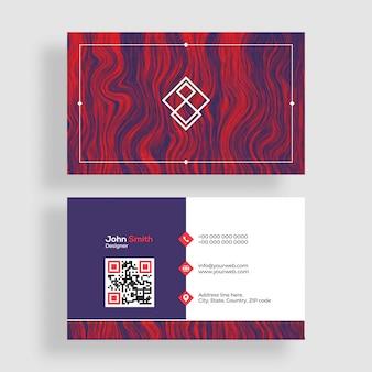 Design creativo di biglietti da visita con presentazioni frontali e posteriori.