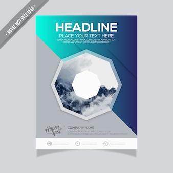 Design di brochure di busines blu gradiente