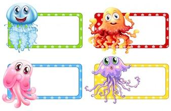 Design di etichetta con medusa