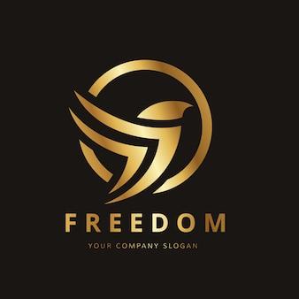 Design dorato d'uccello logo