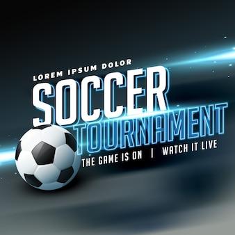 Design elegante del manifesto del volantino di sport per il gioco del torneo di calcio