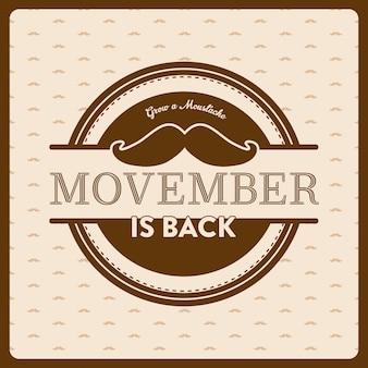 Design emblema di consapevolezza del cancro di Movember con un grande baffo