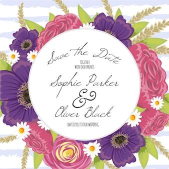 Design floreale di invito di nozze