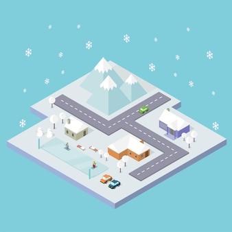 Design isometrico nevoso della città