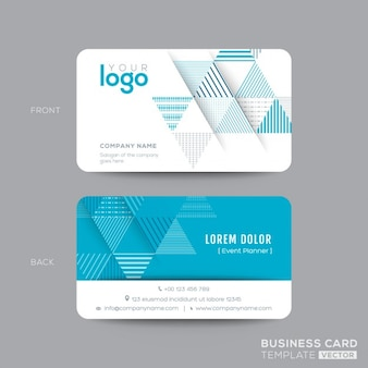 Design moderno biglietto da visita Aqua Blue Triangle