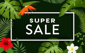 Design super sale background con foglie e fiori tropicali