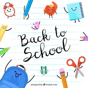 Di nuovo allo sfondo della scuola con divertenti accessori disegnati a mano
