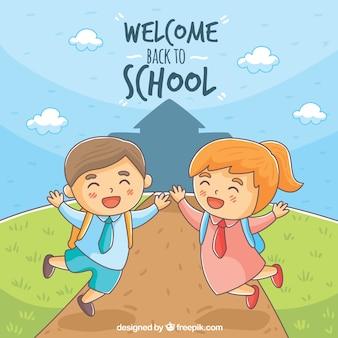 Di nuovo allo sfondo della scuola con i bambini felici