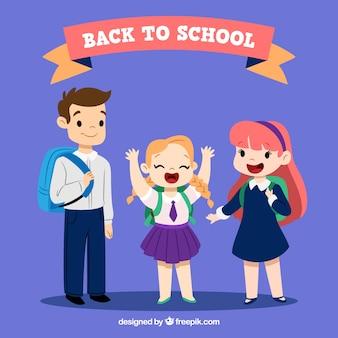 Di nuovo allo sfondo della scuola con i bambini