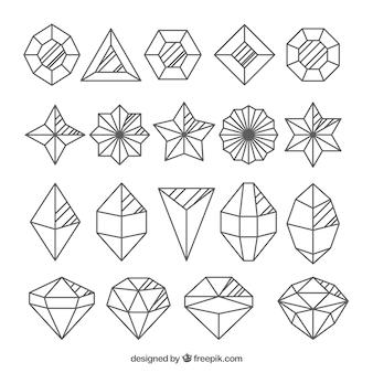 Diamanti raccolta di diverse forme