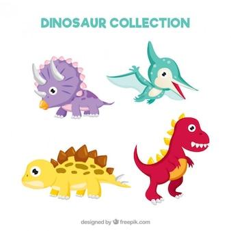 Dinosauri bambino curato e divertenti impostati