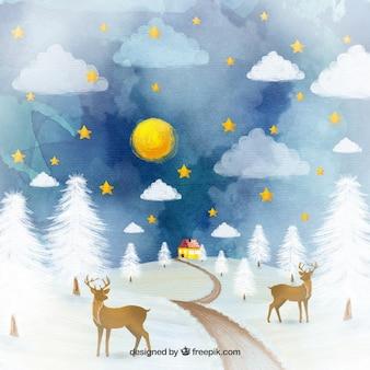 Dipinte a mano renne su uno sfondo di campagna