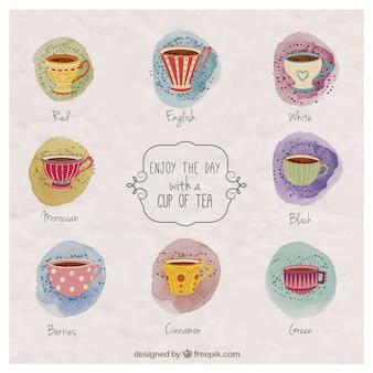 Dipinti a mano tazze di tè