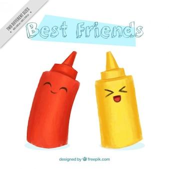 Dipinto a mano simpatici personaggi di ketchup e senape sfondo