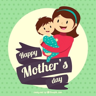 Disegnata a mano bella madre con il suo bambino card