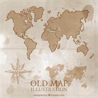 Disegnata a mano mappa del mondo annata
