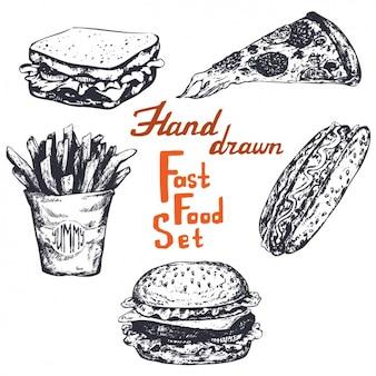 Disegnata a mano set di fast food