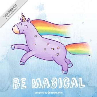 Disegnata a mano unicorno felice con arcobaleno
