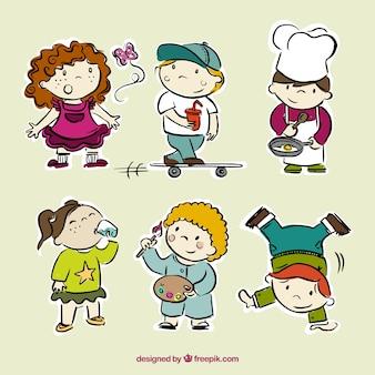 disegnati a mano bambini che fanno la raccolta cose