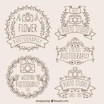 disegnati a mano decorative fotografia badge in stile vintage
