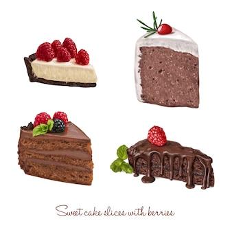 Disegnati a mano fette deliziosa torta set