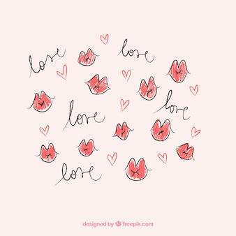"""Disegnati a mano le labbra baciano con la parola """"amore"""""""