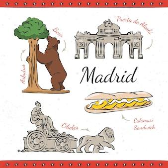 Disegnati a mano Madrid monumenti