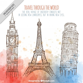 Disegnati a mano monumenti del mondo