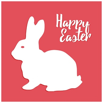 Disegnato a mano abbozzo colorato di coniglio di Pasqua dell'annata di vettore line art illustrazione su sfondo rosso
