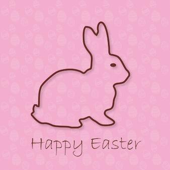 Disegnato a mano abbozzo colorato di coniglio di Pasqua Vector vintage linea di arte astratta su sfondo rosa