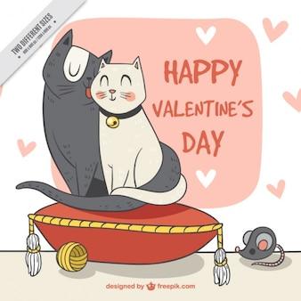 Disegnato a mano bella coppia di gatti sfondo