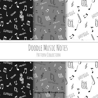 Disegnato a mano disegno di note musicali