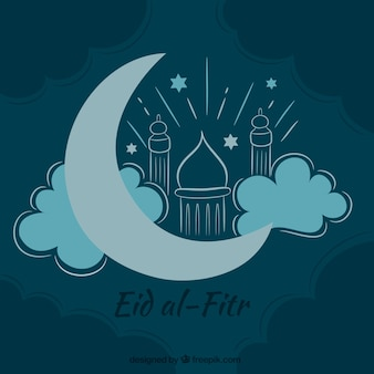 Disegnato a mano eid background al-fitr