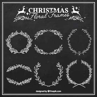 Disegnato decorazioni natalizie floreale mano
