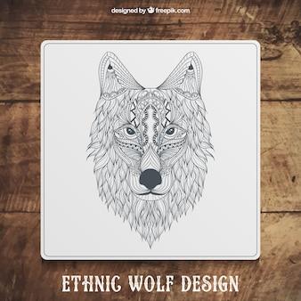 Disegnato disegno lupo etnico mano