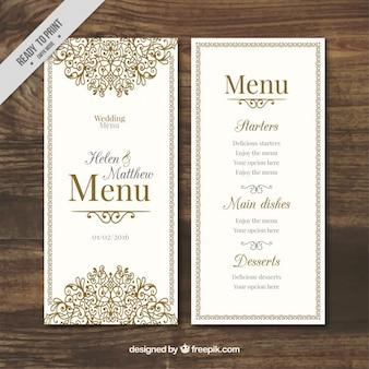 Disegnato menu di nozze ornamentale a mano