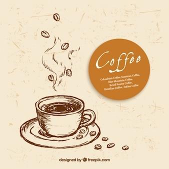 Disegnato tazza di caffè a mano