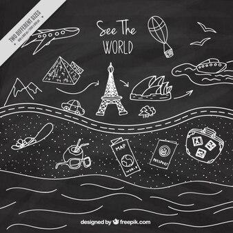 disegni di viaggio a effetto lavagna