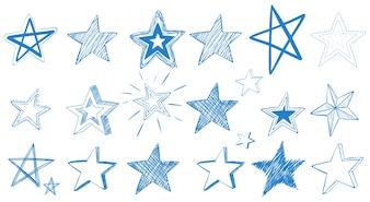 Disegni diversi di stelle blu