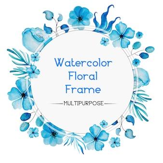 Disegno a forma di telaio floreale floreale acquerello blu disegnato a mano