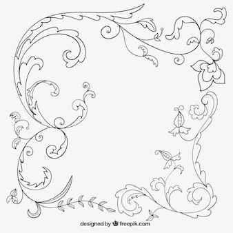 Disegno a mano decorazione ornamentale in stile floreale